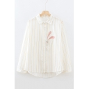 Cute Rabbit Embroidered Striped Printed Long Sleeve Lapel Collar Loose Shirt