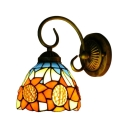 Sunflower Design Wall Lamp Traditional Tiffany Style Stained Glass Wall Sconce in Multicolor