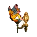Accent Butterfly Wall Lamp Animal Tiffany Style Wall Sconce Stained Glass in Yellow