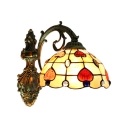 Tiffany Style Dome Wall Sconce Stained Glass Wall Lamp in Multicolor for Living Room
