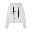 Letter HOW YOU DOIN Polka Dot Printed Long Sleeve White Cropped Hoodie