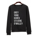 New Trendy Letter Pattern Long Sleeve Round Neck Loose Leisure Sweatshirt