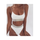 Hot Fashion Spaghetti Straps Sleeveless Diamond Embellished Top High Waist Bottom Bikini