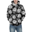 New Arrival Fashion 3D Pattern Loose Casual Unisex Black Hoodie