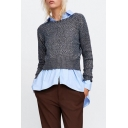Fashion Long Sleeve Round Neck Drill Embellished Fitted Sweater