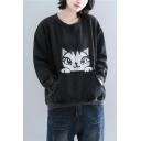New Trendy Cartoon Cat Printed Round Neck Long Sleeve Black Pullover Sweatshirt