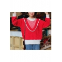 Girls' Lovely Patchwork Crew Neck Long Sleeve Colorblock Pullover Sweater
