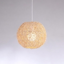 1 Light Orb Drop Light Retro Style Rattan Lighting Fixture in Beige for Kitchen Restaurant Bedside
