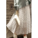 Classic Polka Dot Printed Elastic Waist Maxi A-Line Pleated Mesh Skirt with Liner