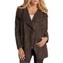 Winter's New Trendy Long Sleeve Plain Fleece Tunics Brown Coat