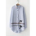 Lovely Cartoon Cat Embroidered Long Sleeve Lapel Collar Classic Striped Print Button Down Blue Shirt