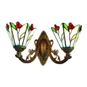 Aqua Leaf Design Lighting Fixture Tiffany Style Stained Glass 2 Heads Wall Sconce