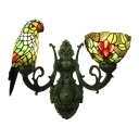 Parrot and Flower Wall Mount Fixture Tiffany Stained Glass 2 Lights Wall Sconce in Multicolor