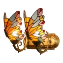 Stained Glass Butterfly Wall Sconce Tiffany Style Double Lights Wall Light Fixture in Yellow