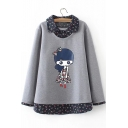 1 Cartoon Character Printed Long Sleeve Lapel Collar Fake Two Piece Sweatshirt