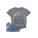Popular Gray Cotton HOCUS POCUS Graphic Print Crew Neck Short Sleeve Tee
