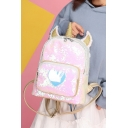 Unicorn Pattern Zippered Sequined Reflective Sweetheart Backpack Bag for Ladies