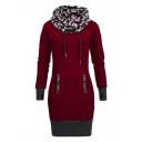 Colorblocking Drawstring Hood Long Sleeve Casual Hoodie Dress