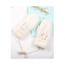 Hot Fashion Lovely Cartoon Embroidered Fluffy Gloves for Winter