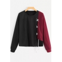 Colorblock Lace Up Long Sleeve Round Neck Loose Sweatshirt