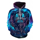 3D Digital Long Sleeve Lion Galaxy Printed Loose Blue Unisex Hoodie