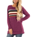 Autumn's New Fashion Long Sleeve Round Neck Striped Loose Tee