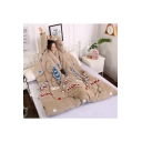 Khaki Colorful Feather Printed Warm Quilt with Sleeves Sofa Blanket 150×200CM