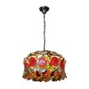 Adjustable Rose Drop Light Tiffany Style Lodge Glass 3 Light Pendant Light in Multi Color