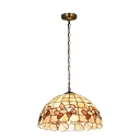 Shelly Hanging Light Tiffany Style Metallic 1 Bulb Ceiling Pendant Light in Beige