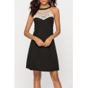 White Lace-Paneled Halter Neck Sleeveless Black Mini Swing Dress