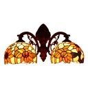 Tiffany Style Sunflower Sconce Lighting Stained Glass 2 Head Wall Sconce in Multicolor