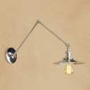Metal Swing Arm Wall Sconce Industrial Modern 1 Head Wall Lamp in Chrome for Living Room