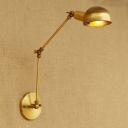 Arm Adjustable Sconce Light Vintage Loft Iron Single Light Lighting Fixture in Brass
