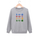 Thick Long Sleeve Round Neck Pattern Cotton Sweatshirt for Juniors