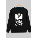 Autumn's Long Sleeve Crewneck Letter MAGIC ZOO LOGIST Printed Casual Sweatshirt