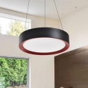 Drum Shaped LED Hanging Pendant Light Contemporary Style Office Suspension Lamp 16/19.5in Wide
