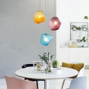 Gem Shaped 1-LED Suspension Light Fume/Orange/Blue/Amber/Purple Glass Nordic Style Pendant Lamp