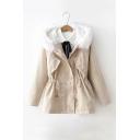 Basic Solid Fur Hooded Long Sleeve Drawstring Waist Corduroy Coat