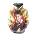 3D Portrait Printed Long Sleeve White Loose Hoodie