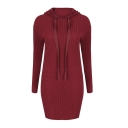 Hot Sale Long Sleeve Plain Mini Hooded Dress
