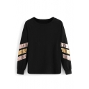 Fashion Sequined Striped Long Sleeve Round Neck Loose Casual Sweatshirt