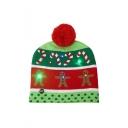 New Arrival Cartoon Printed Pom Pom Embellished LED Christmas Red Hat