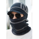 Men's Letter M Printed Thick Warm Outdoor Hat with Mask