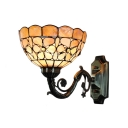 Beige Shelly Wall Sconce Tiffany Style Stained Glass Wall Lamp in Antique Brass