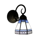 Geometric Wall Sconce Craftsman Tiffany Style Stained Glass Decorative Wall Light in Blue