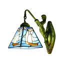 Aqua Sailboat Design Wall Sconce Nautical Tiffany Style Stained Glass Wall Lamp