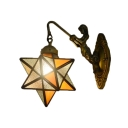 Star Shade Wall Sconce Tiffany Style Rippled Glass Wall Lamp in Orange for Kitchen