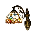 Beige/Blue Dome Wall Light Baroque Tiffany Style Stained Glass Wall Sconce for Bedroom