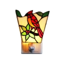 Tiffany Style Bird Design Wall Sconce Stained Glass Plug-in Night Light in Multicolor for Bedroom