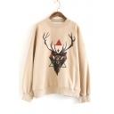 Fashion Deer Pattern Crewneck Long Sleeve Frayed Hem Pullover Sweatshirt